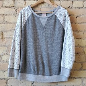 Philosophy Heathered Gray Lace Sleeve Sweatshirt